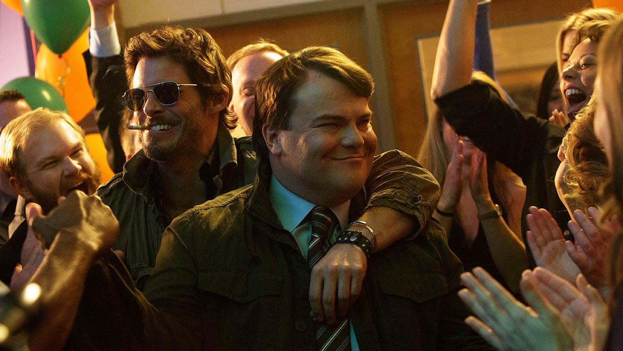 Photo from epk.tv Landsman (Jack Black, right) imagines being the hero of his high school reunion with Lawless (James Marsden) by his side