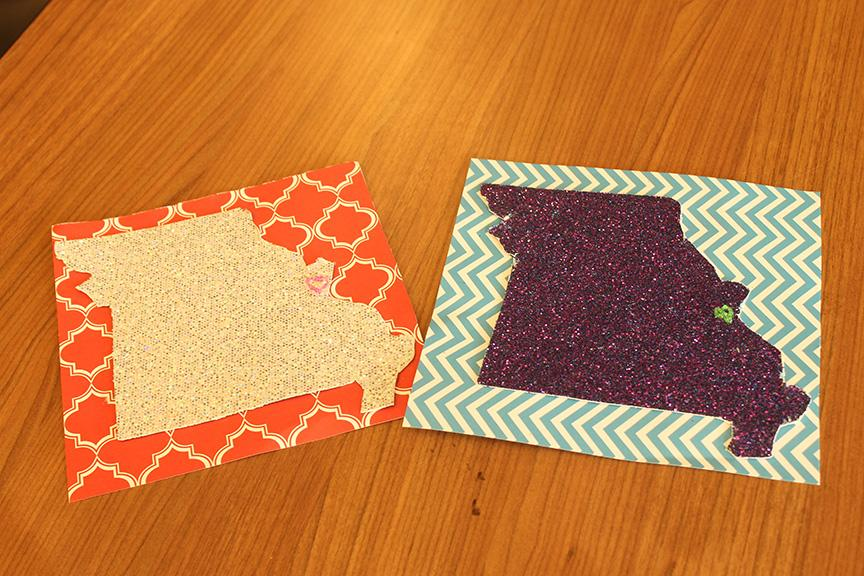 Photo by Mai Urai Students made signs to represent their home states with construction paper and glitter