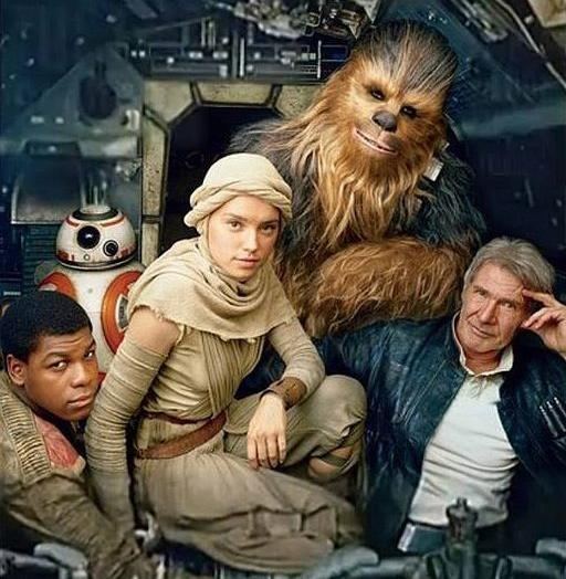 "Photo from flickr.com Finn (John Boyega), BB-8, Rey (Daisy Ridley), Chewbacca (Peter Mayhew) and Han Solo (Harrison Ford) from ""Star Wars: The Force Awakens"""