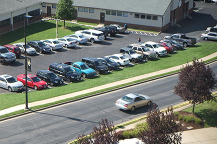 The crowded parking at the field house on campus.  Photo by Nao Enomoto