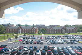An aerial view of the parking outside of Evans Commons.  Photo by Nao Enomoto