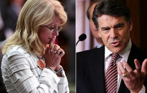 Splice image: left- Wendy Davis, right- Rick Perry