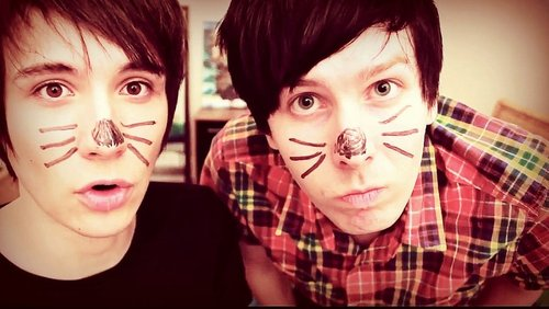 Picture of Dan and Phil from thekidswiththehairs Tumblr blog.
