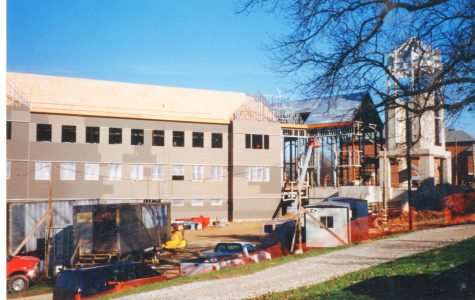 Spellmann Center being constructed. Photo courtesy of the Mary E. Ambler Archives.
