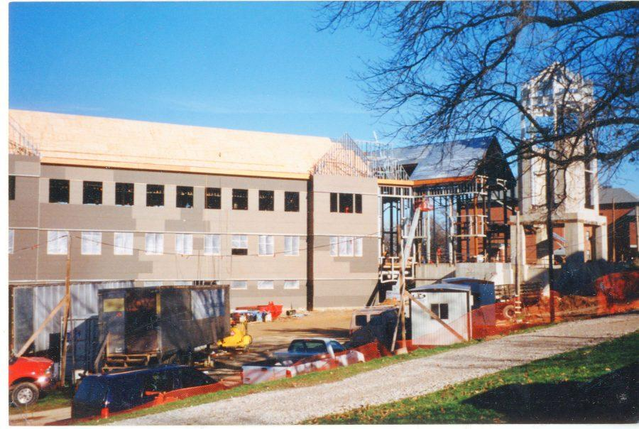 Spellmann+Center+being+constructed.+Photo+courtesy+of+the+Mary+E.+Ambler+Archives.