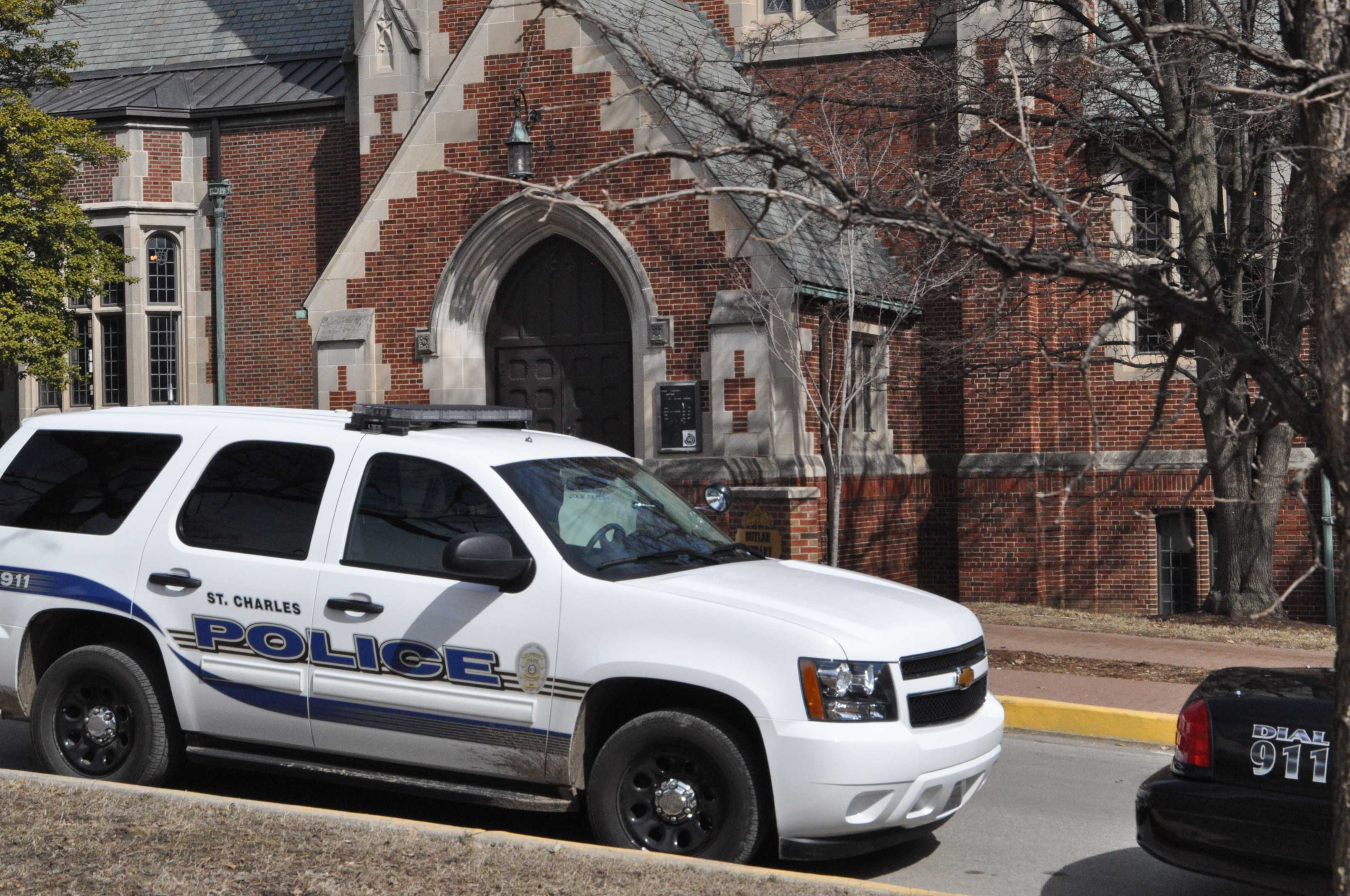 Police vehicle on campus