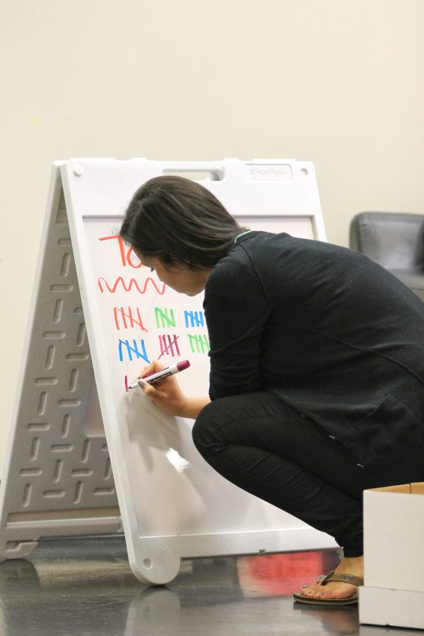 Volunteer adding tallies to the total amount of donors registered at the event.