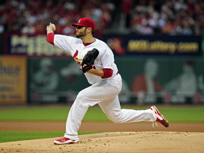 Lance Lynn throws his first pitch of the night. Photo courtesy of ksdk.com