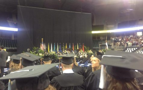 The stage for Lindenwood University's undergraduate ceremony.