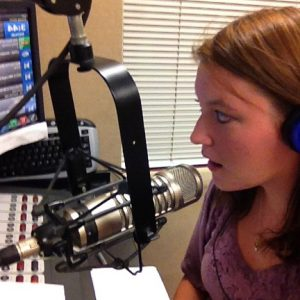 Lindsey Rae Vaughn practicing her radio skills as part of the journalism program at Lindenwood University