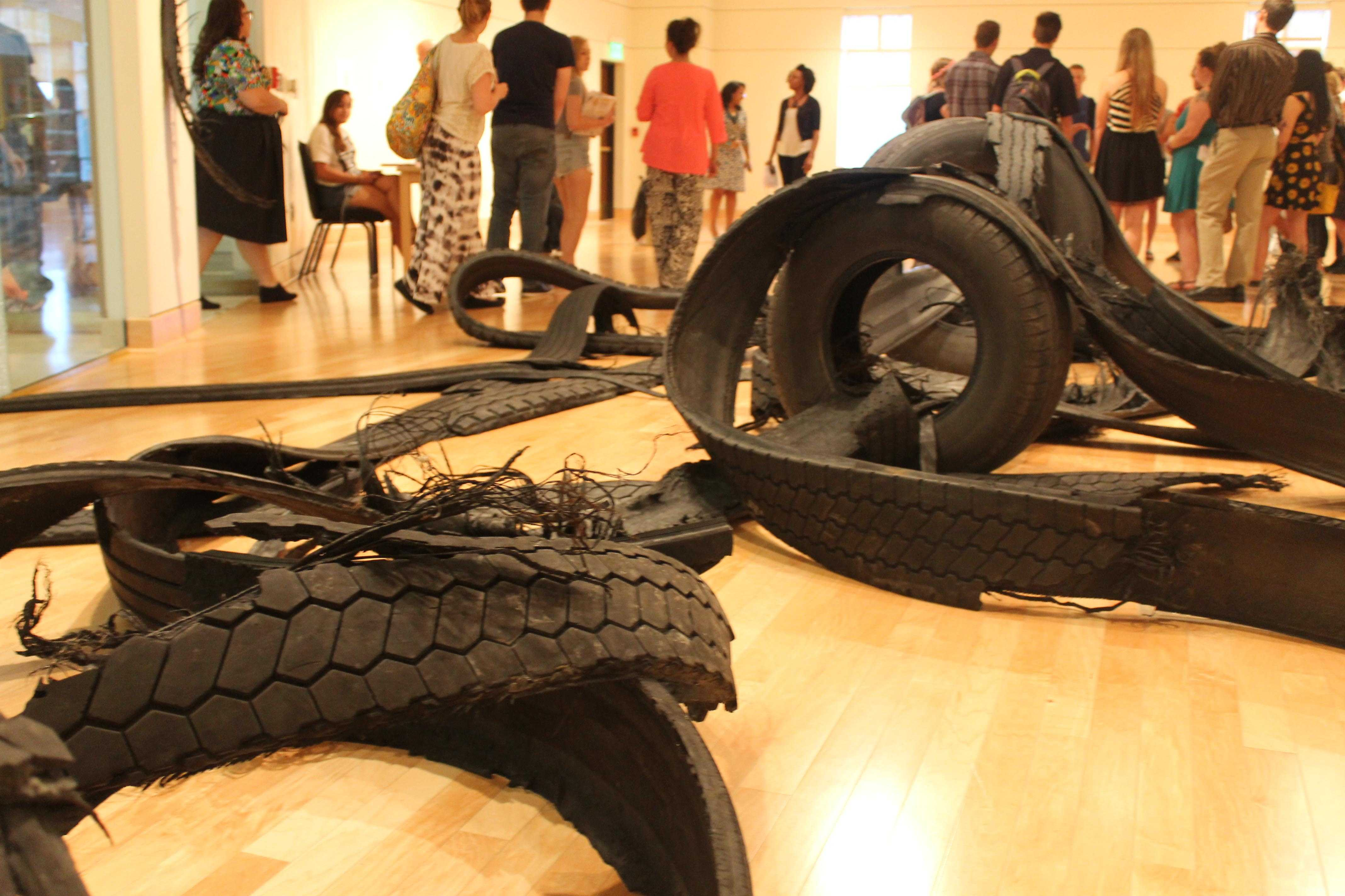 Rubber tires were used to construct this exhibition