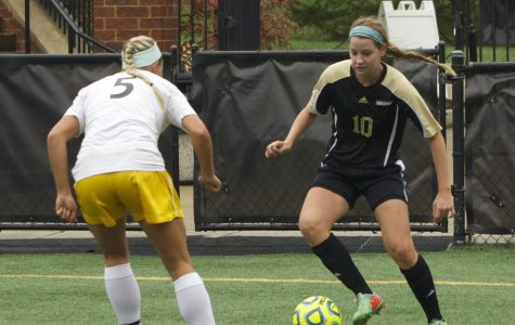 Becky Roberts (10) faces a Missouri Western defender in a game earlier this season.