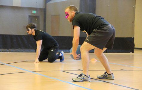 Photo by Sabine Neveu Richie Stecker experiences how visually impaired athletes must compete.