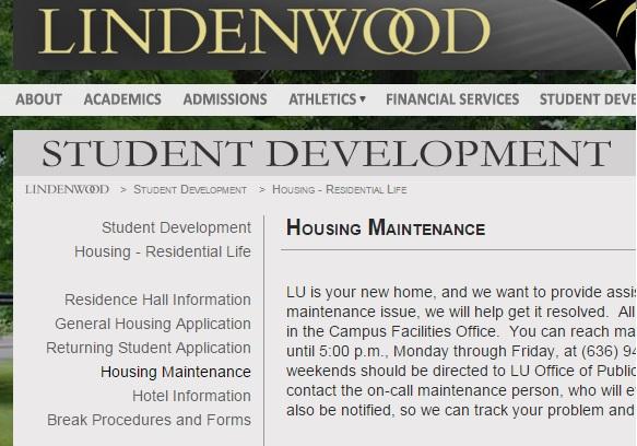 Screenshot of Lindenwood.edu