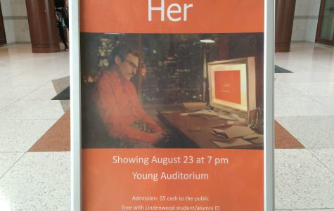 Photo by Jason Wiese An advertisement for the LU Film Series presentation of 'Her' in the Spellmann Center lobby