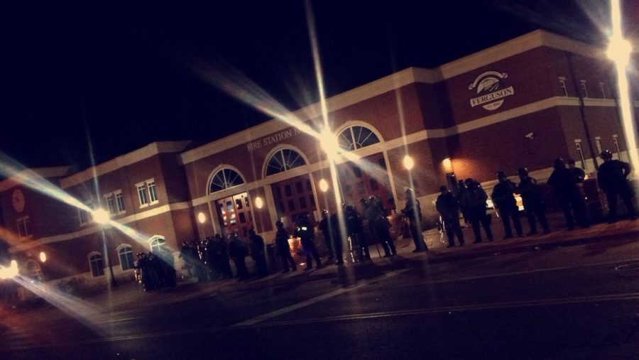 Photo submitted by Daniela Tablante <br> Photo of Ferguson Police Station during initial outbreak