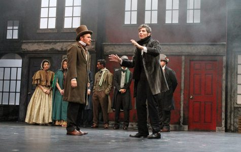 Photo by Christie Blecher Cole Figus as Bob Cratchit and Steven Finkle as Ebenezer Scrooge in LU's 2012 production of