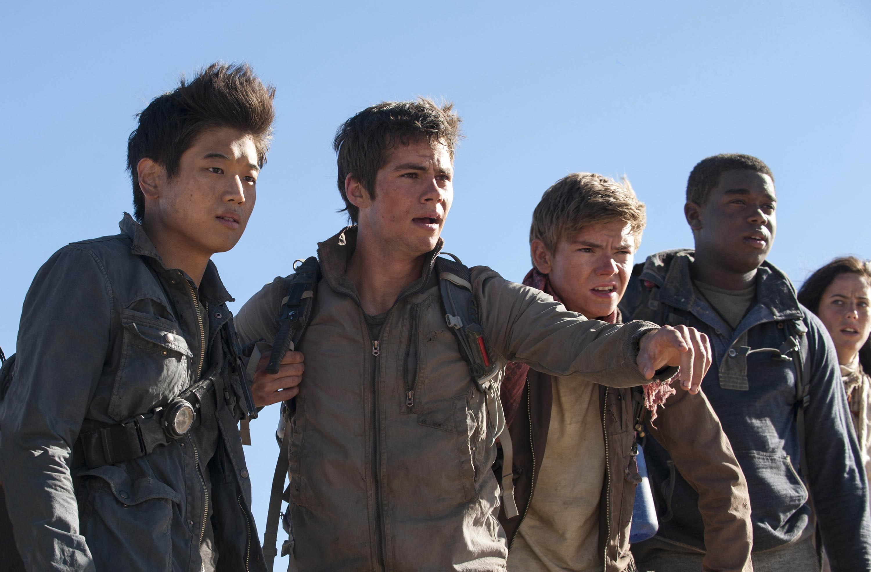 Photo courtesy of Twentieth Century Fox Min Ho (KI Hong Lee), Thomas (Dylan O'Brien), Newt (Thomas Sangster), Frypan (Dexter Darden) and Teresa (Kaya Scodelario) face