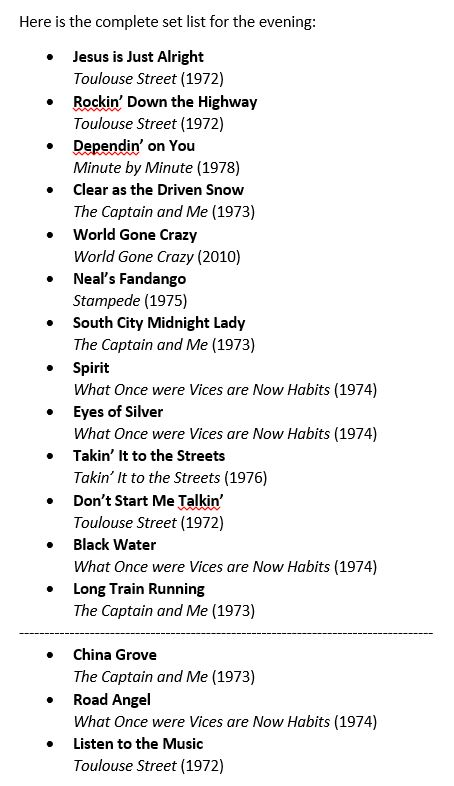 The complete set list for the Oct. 10 Doobie Brothers concert