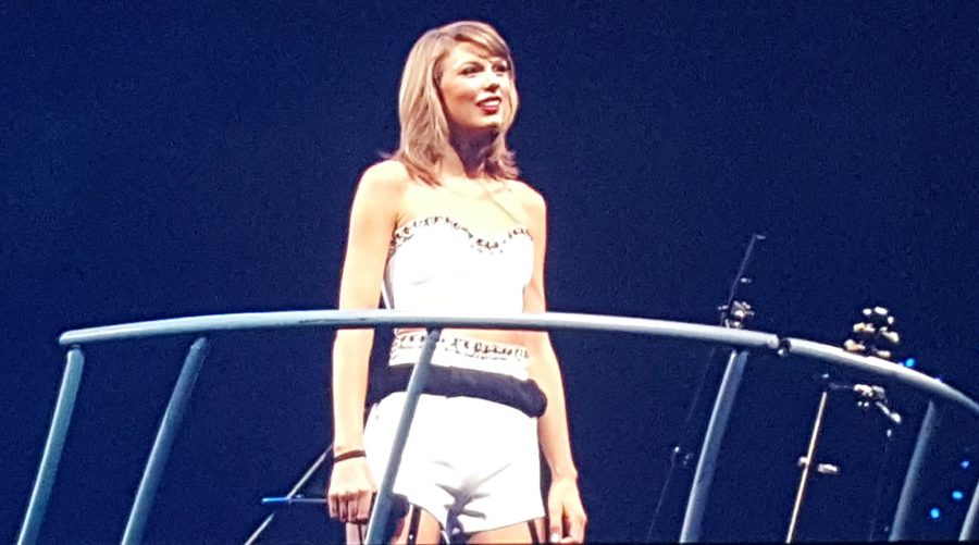 Taylor Swifts looks out to the crowd Monday night at the Scottrade Center in St. Louis.  Photo by Essi Virtanen