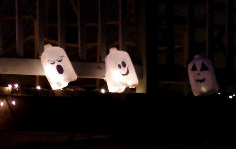 Photo by Lucy Bochon Phantom ghosts made out of milk jugs are used as decoration on campus.