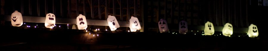 Photo+by+Lucy+Bochon%0APhantom+ghosts+made+out+of+milk+jugs+are+used+as+decoration+on+campus.%0A