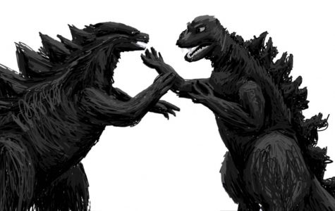 Drawing by Rachel Schuldt 2014's Godzilla faces off against his 1954 counterpart