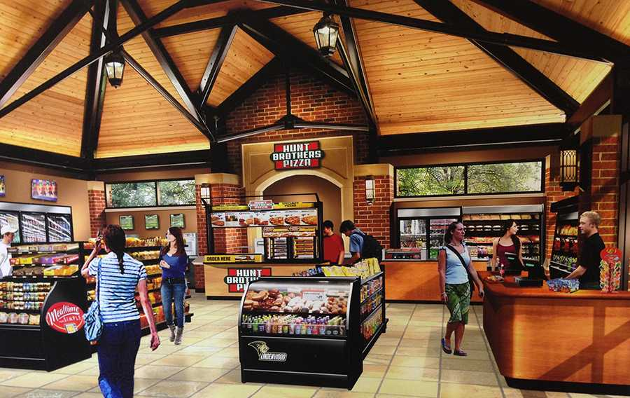 The new plans involve closing off the pavilion and adding a convenience store. Photo provided by Pedestal Foods