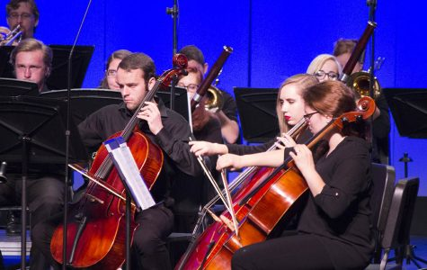 Photo by Sandro Perrino A group of cello players performing in Tuesday's concert