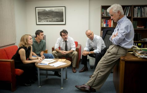 Photo from epk.tv Rachel McAdams, Mark Ruffalo, Brian d'Arcy James, Michael Keaton and John Slattery in