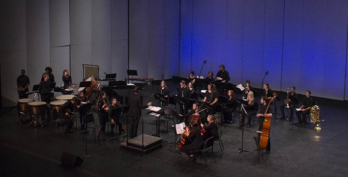 Photo by Sandro Perrino Lindenwood's Symphonic Orchestra performs on the second night of this year's Fall Music Series