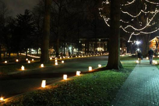 Photo by Christie Blecher Lindenwood's campus is filled with candles for the Christmas Walk in 2012