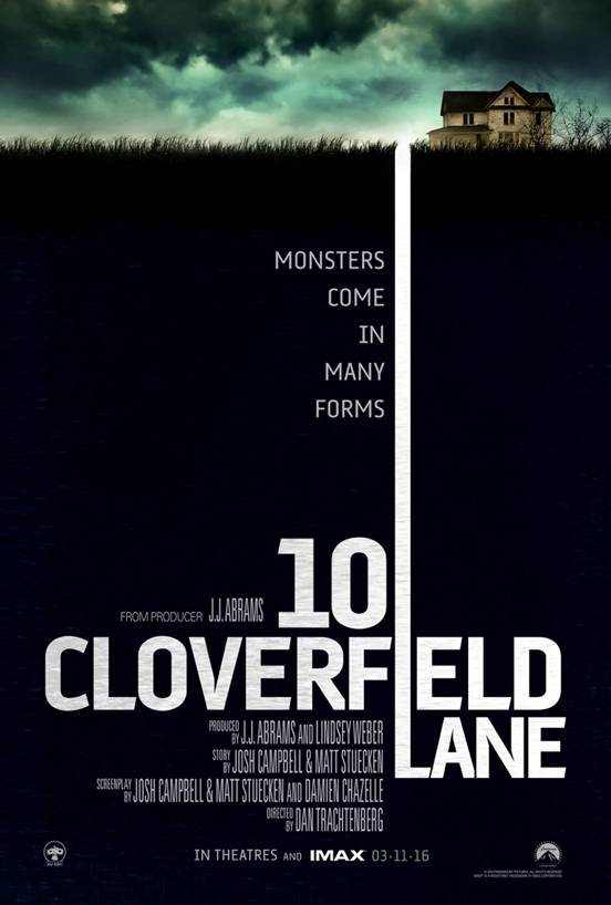 "Photo courtesy of Paramount Pictures The first poster for the sequel to ""Cloverfield"", ""10 Cloverfield Lane"""