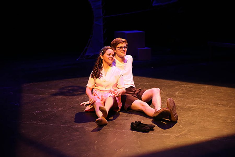 Photo by Carly Fristoe. Jamie Greco stars as the title character and Brad Walker stars as Orpehus in LU's production of