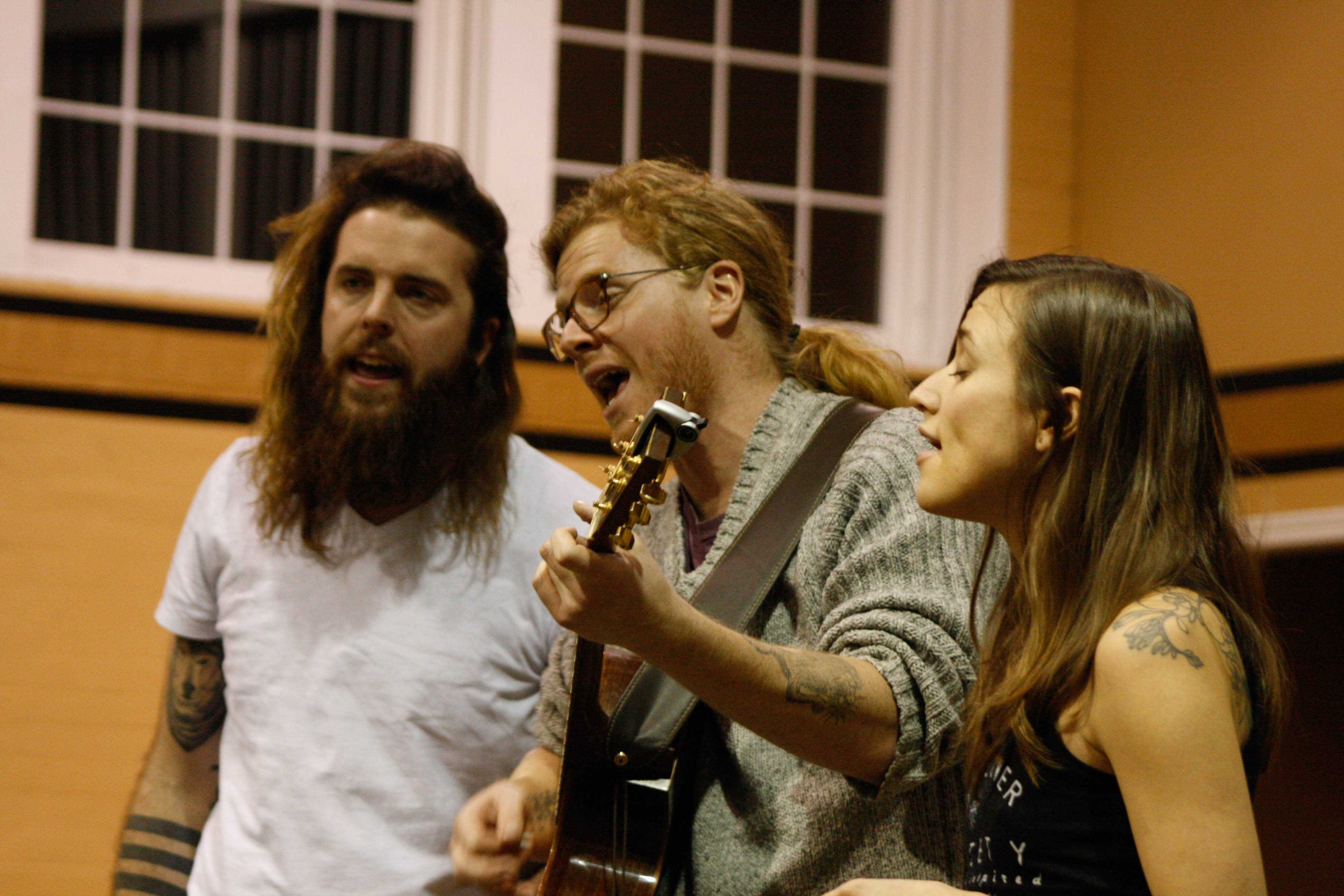 Photo by Mai Urai From left, Devin Mauch, Martin Earley and Calin Peters harmonize in Butler Loft