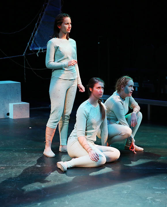 """Photo by Carly Fristoe. From left, Ana Castillo, Jenah Bickel and Hannah Pauluhn play a trio of """"Stones"""" of the underworld in """"Eurydice""""."""