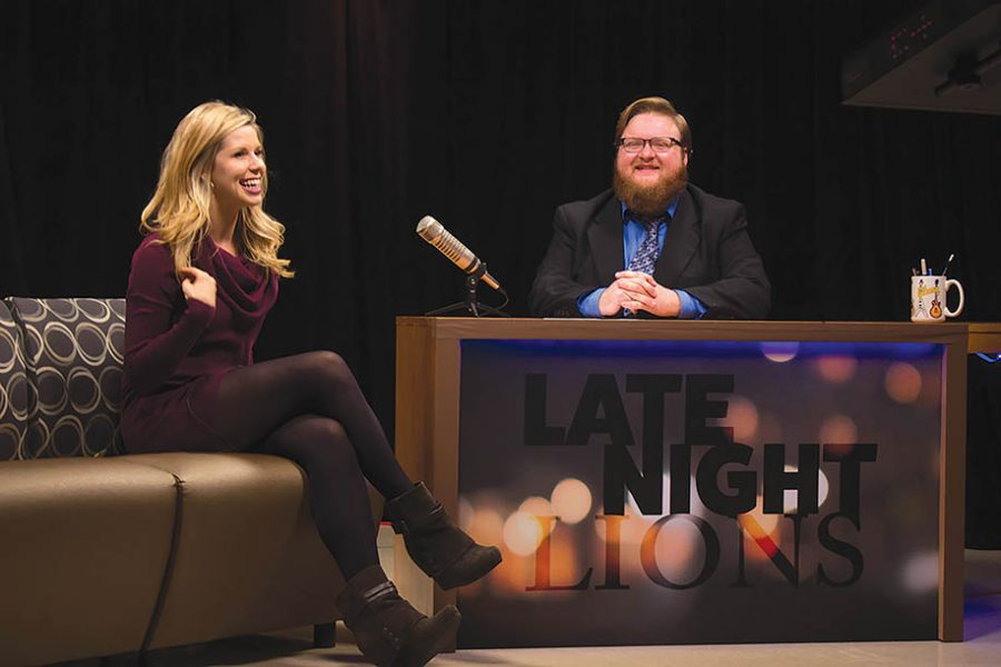 "Photo by Mai Urai Host John Fisher, right, interviews video blogger Alexis Kadey on Thursday, Feb. 25, in the LUTV studio for the first taping of ""Late Night Lions."""