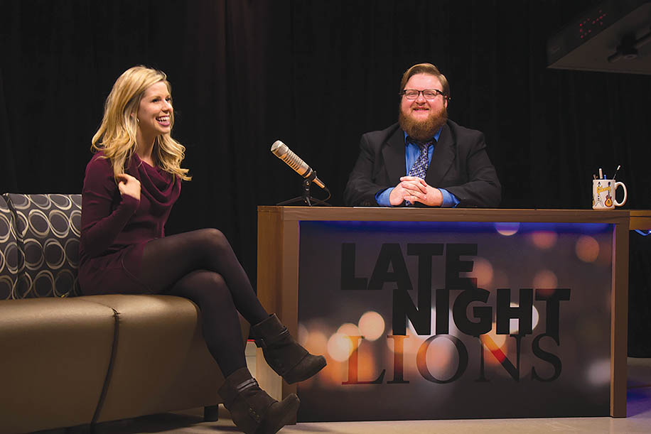 """Photo by Mai Urai Host John Fisher, right, interviews video blogger Alexis Kadey on Thursday, Feb. 25, in the LUTV studio for the first taping of """"Late Night Lions."""""""
