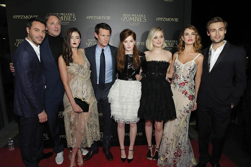 "Photo courtesy of Screen Gems From left, Jack Huston, writer-director Burr Steers, Millie Brady, Matt Smith, Ellie Bamber, Bella Heathcote, Lily James and Douglas Booth at the LA red carpet premiere of ""PPZ"""