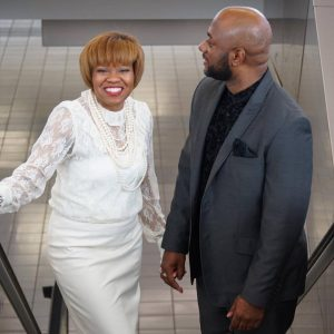 Photo courtesy of Dionne Stewart Nicci Roach and LU Professor Patrick Walker recently wed as the airport.