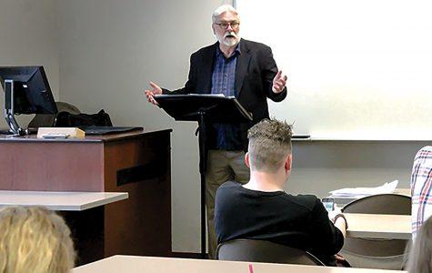 Sharpe teaches Mass Communication Theory earlier last week.  <br> Photo by Kelby Lorenz