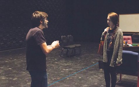"Photo  by Ana Castillo Jake Blonstein, left, and CeCe Day, the sole stars of Lindenwood University's production of ""Oleanna"" in rehearsal in the Emerson Black Box Theater."