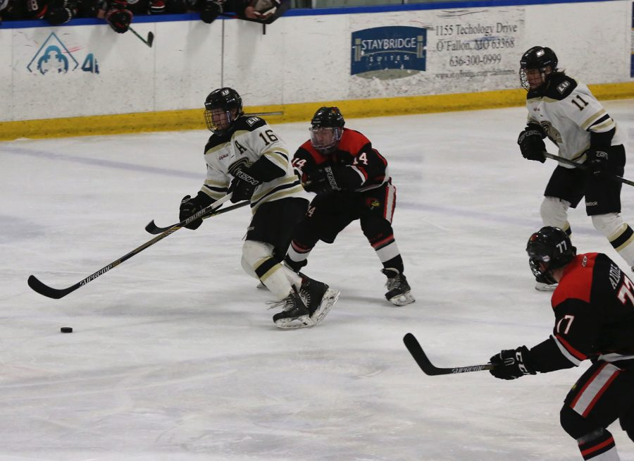 Brandon Rumble (16) attempts to keep the puck away from Illinois State University's Vinny Carbone (14) during at game at the Lindenwood Ice Arena.