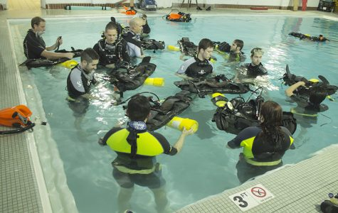 In 2016, participants of Lindenwood's first scuba class practice in Butler pool. <br> Photo by Mai Urai