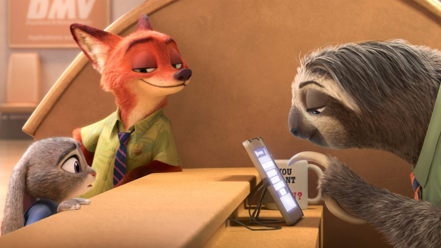 Photo courtesy of Disney Judy Hopps (Ginnifer Goodwin) and Nick Wilde (Jason Bateman) seek help from DMV employee, Flash, who is appropriately a sloth in