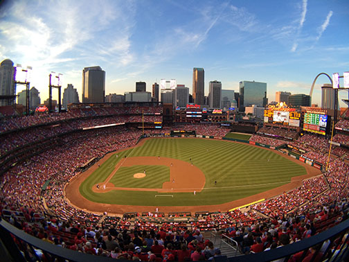 View from the top level of Busch Stadium at Lindenwood's student night at Busch Stadium on May 1, 2015.  <br> Photo by Carly Fristoe