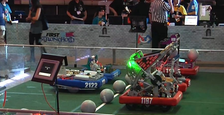 Robots+compete+in+the+game+%22Stronghold%22.+