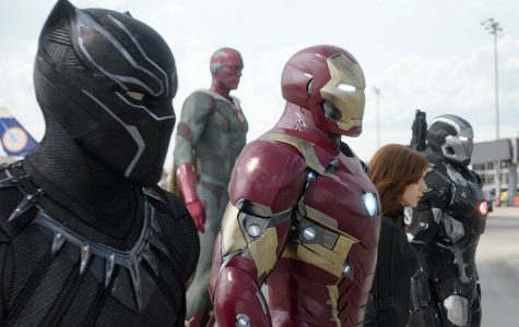 "Photo courtesy of Ma_Co2013 From left, Black Panther (Chadwick Boseman), Iron Man (Robert Downey, Jr.), Vision (Paul Bettany), Black Widow (Scarlett Johansson) and War Machine (Don Cheadle) make up ""Team Iron Man."""