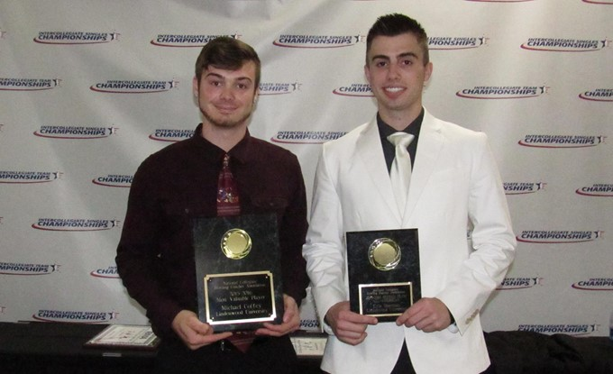 Photo+from+lindenwoodlionssls.com%3Cbr%3EMichael+Coffey+%28left%29+and+Kyle+Sherman+%28right%29+with+Their+2015-16+NCBCA+Awards.