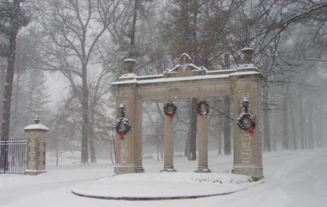 Lindenwood's gates after a snowstorm<br>Photo from Pinterest user Kris Louise